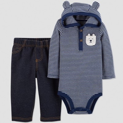 Baby Boys' 2pc Stripe Hooded Set - Just One You® made by carter's Navy 3M