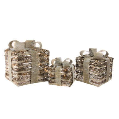 Northlight Set of 3 Lighted Rattan Gift Boxes with Burlap Bows Table Top Christmas Decoration