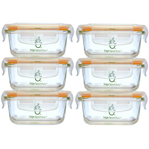 Sage Spoonfuls Tough Glass Tubs 6pk Durable Baby Food Storage Container - Clear - 4oz - image 1 of 4