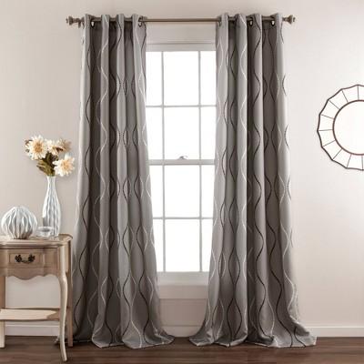 Set of 2 Swirl Geometric Light Filtering Window Curtain Panels Gray - Lush Décor