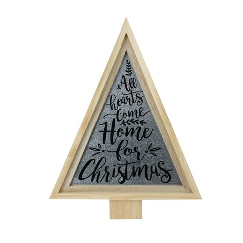 Melrose 21 5 Tan Triangular Wooden And Galvanized Christmas Tree Wall Decor