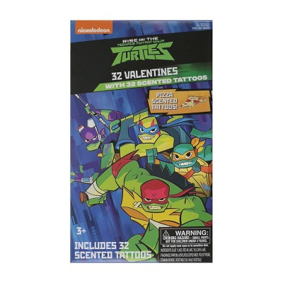 Teenage Mutant Ninja Turtles 32ct Valentines With Pizza Scented Tattoos