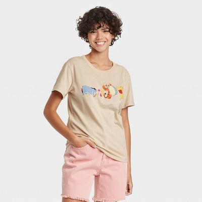 Women's Disney Winnie The Pooh & Friends Short Sleeve Graphic T-Shirt - Beige