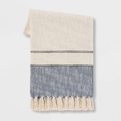 """50""""x60"""" Border Striped Cotton Throw Blanket - Threshold™"""