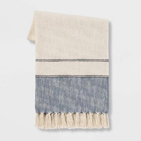 "50""x60"" Border Striped Cotton Throw Blanket - Threshold™ - image 1 of 4"