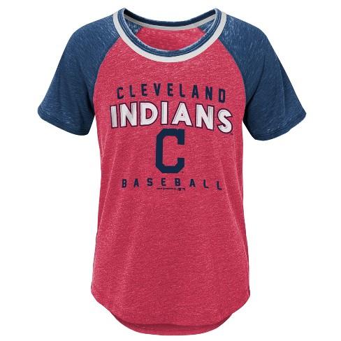 MLB Cleveland Indians Girls' Burnout Alt T-Shirt - image 1 of 1