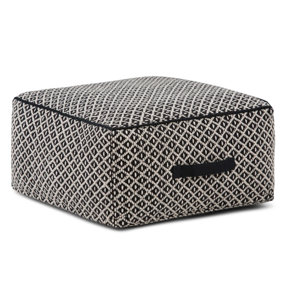 Collette Square Pouf Patterned Black/Ivory Cotton - Wyndenhall, Patterned Black And Ivory