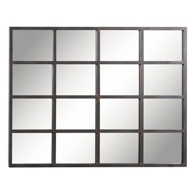 "35"" x 45"" industrial Large Rectangular Metal Window Pane Wall Mirror Black - Olivia & May"