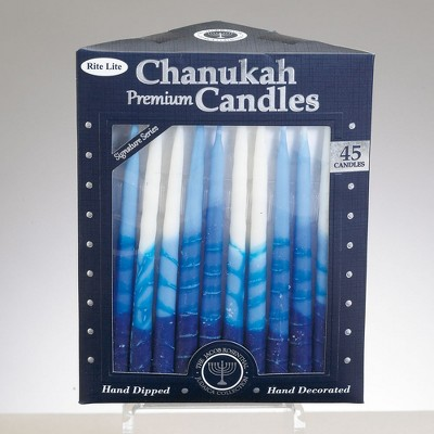 "Rite Lite 45ct Tri-Colored Hand Dipped Hanukkah Candles 6"" - Blue/White"