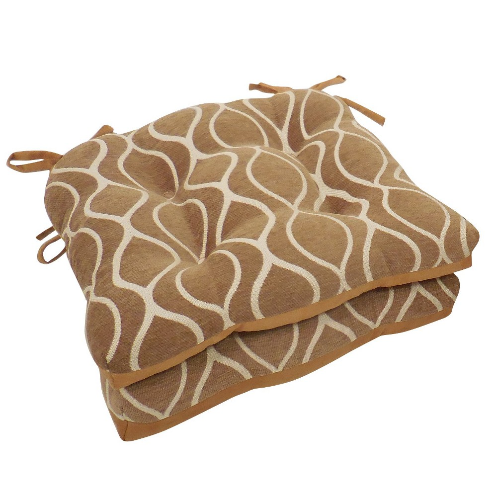 Tan Gemma Chenille Geometric Chair Pads With Tiebacks Bamboo (Set Of 4) - Essentials