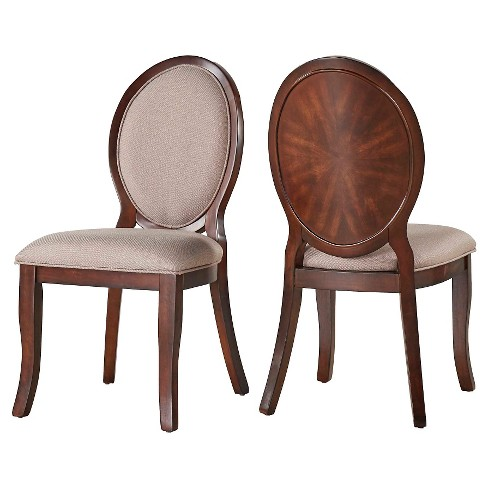 Hutton Formal Round Back Side Dining Chair Wood/Rich Brown Cherry (Set of 2) - Inspire Q - image 1 of 3
