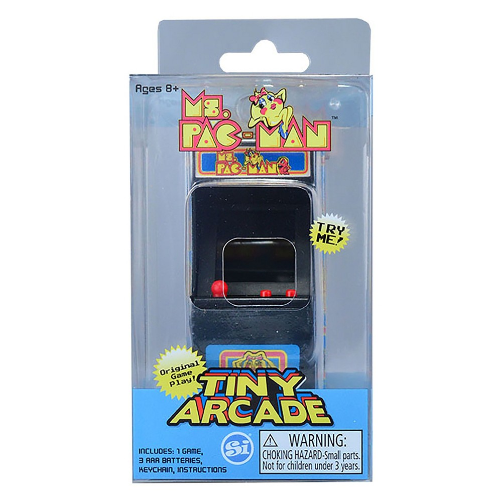 Tiny Arcade - Ms Pac Man, Electronic Games Officially licensed miniature replica of the vintage original Galaxian video arcade game. It's tiny and measures overall at less than 4x2x2 inches with a 1 1/2x1 inch screen. The play is big for the small size. Fully functional, authentic game play Galaxian! Full color, hi-resolution graphics. Authentic game sounds. Light up header. Gender: Unisex.