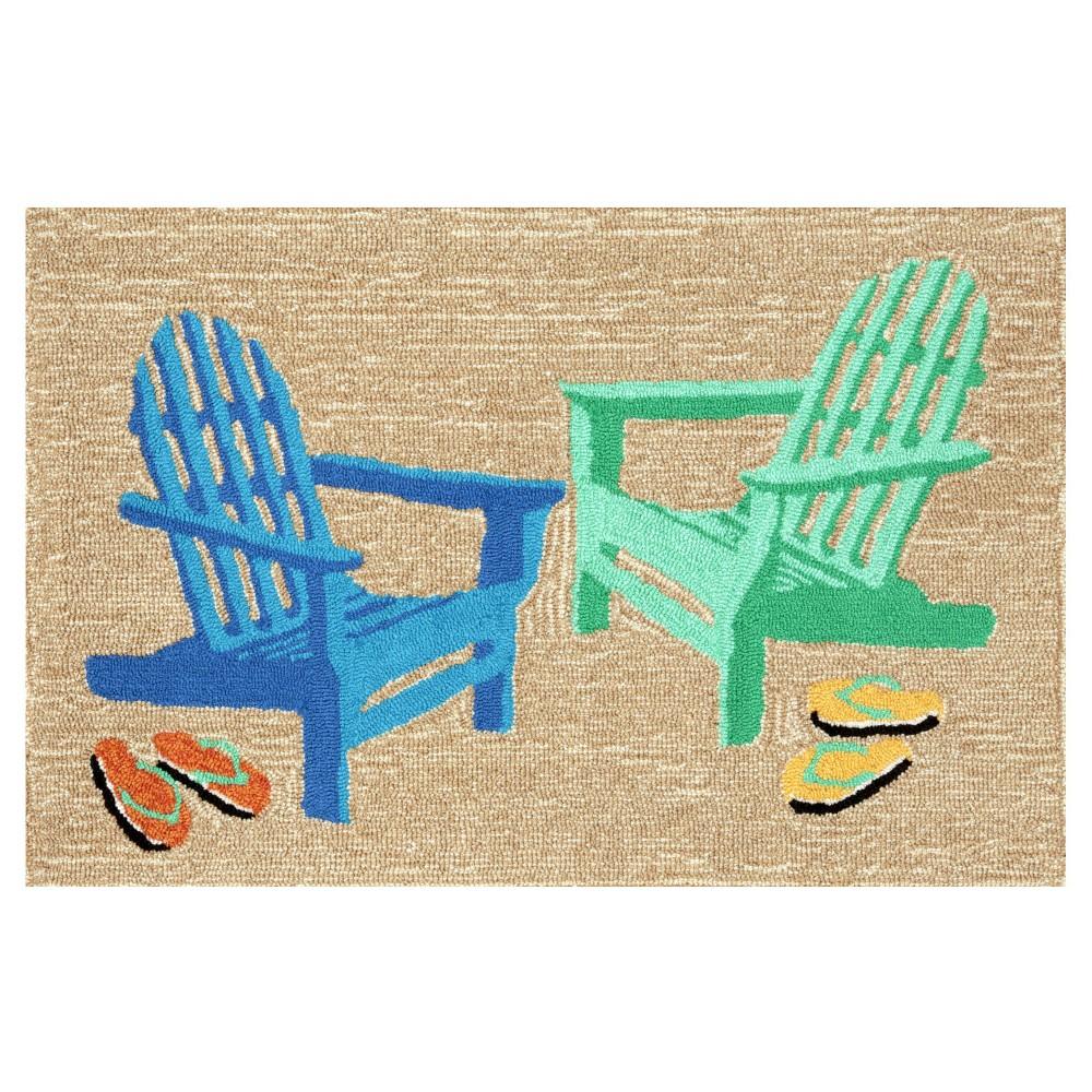 """Image of """"Frontporch Indoor/Outdoor Adirondack Seaside Rug 24""""""""X36"""""""" - Liora Manne Natural - Liora Manne, Size: 2'X3', Beige"""""""