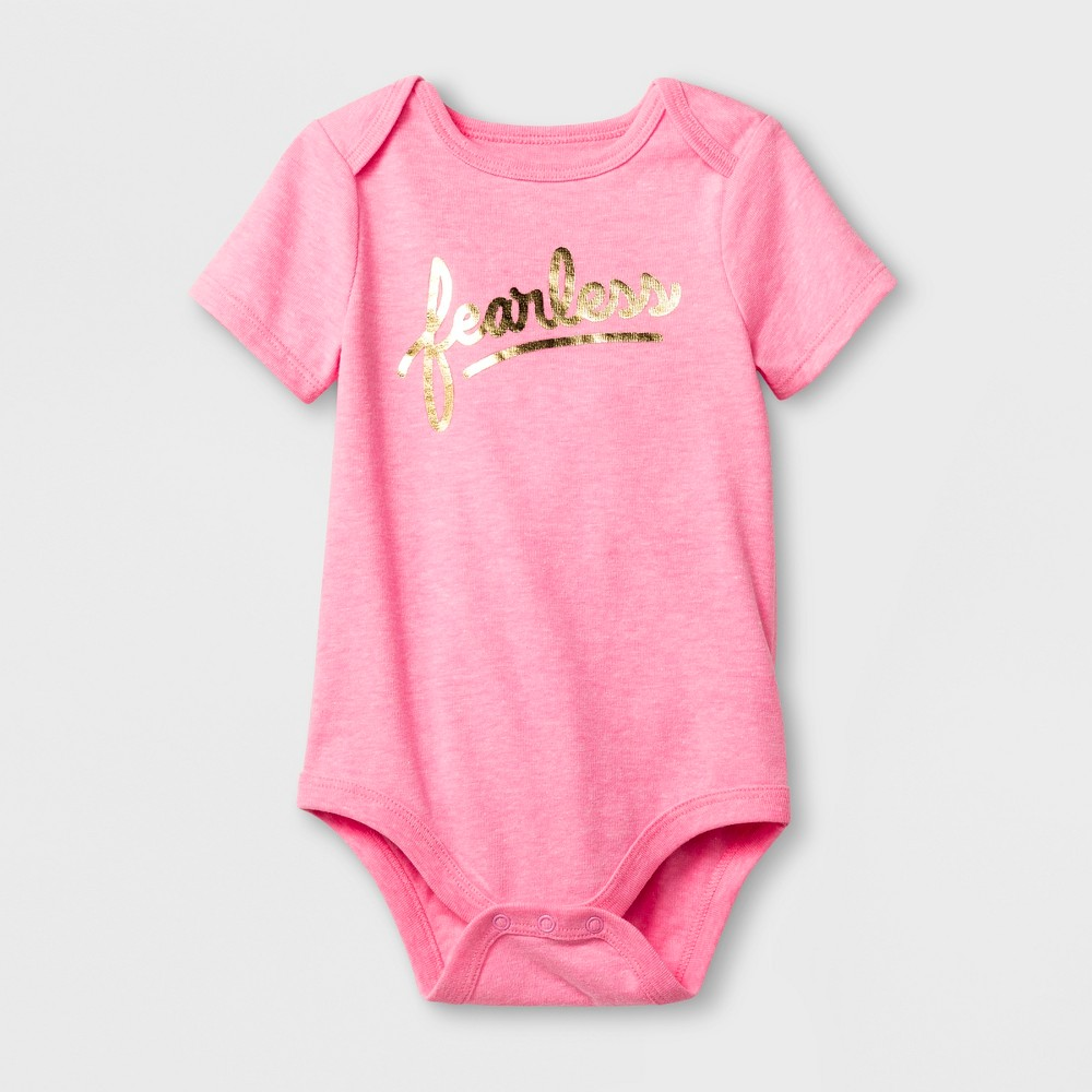 Baby Girls' 'fearless' Short Sleeve Bodysuit - Cat & Jack Pink 18M