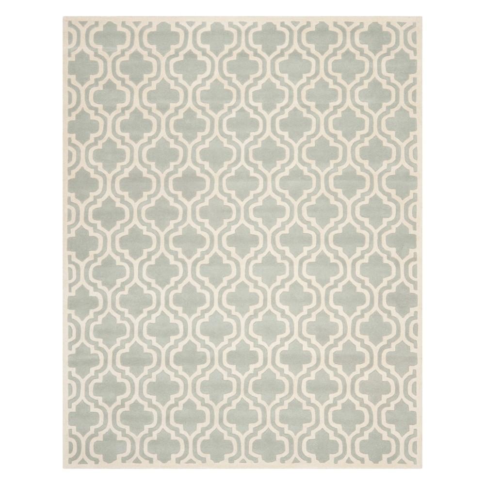 8'X10' Quatrefoil Design Tufted Area Rug Gray/Ivory - Safavieh