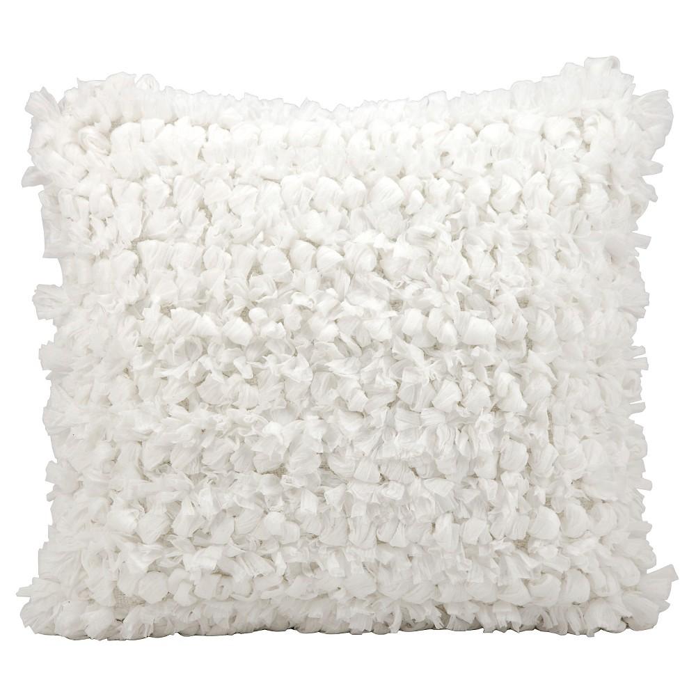 "Image of ""White Loop Shag Throw Pillow (20""""x20"""") - Nourison"""