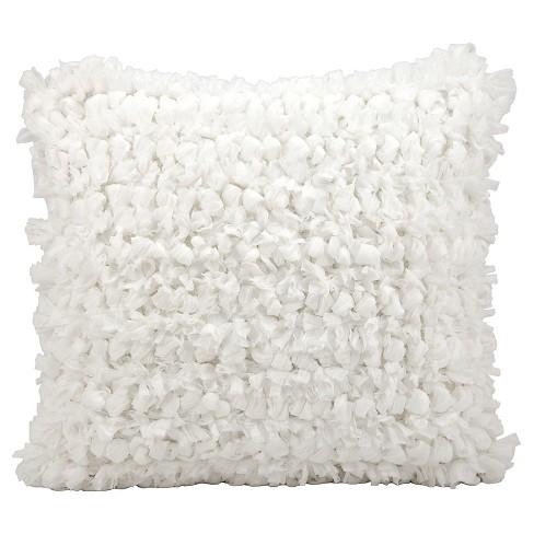 20 x20 loop shag throw pillow white nourison