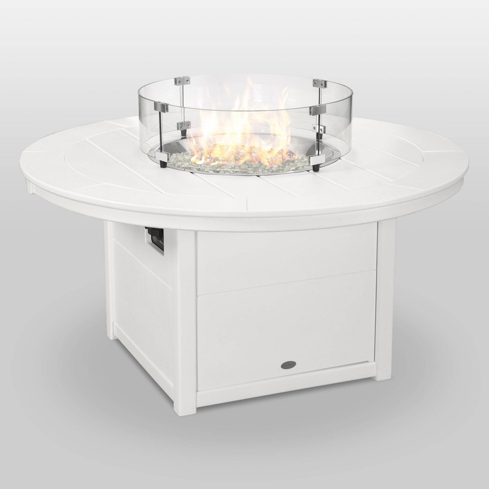 "Image of ""POLYWOOD Round 48"""" Outdoor Fire Pit Table - White"""