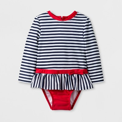 Baby Girls' Bow Long Sleeve One Piece Swimsuit - Cat & Jack™ Navy 12M