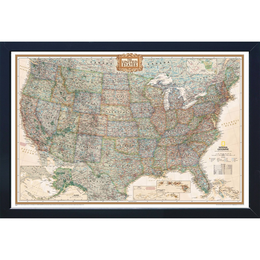 Image of Large National Geographic Magnetic Travel Map USA Executive - House Magnetics