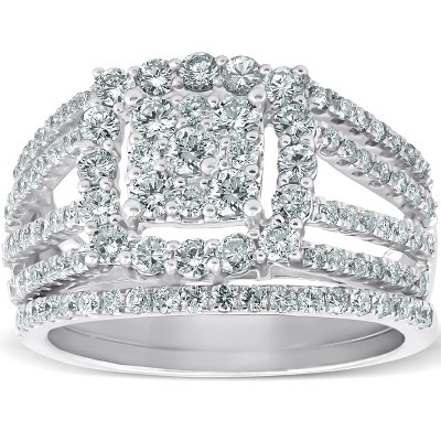 Pompeii3 1 5/8 Ct Diamond Cushion Halo Engagement Ring Wedding Band Set 10k White Gold