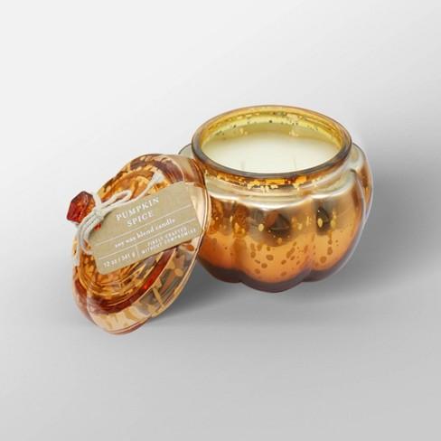 12oz Mercury Glass Pumpkin Jar 2-Wick Candle Pumpkin Spice - Threshold™ - image 1 of 2