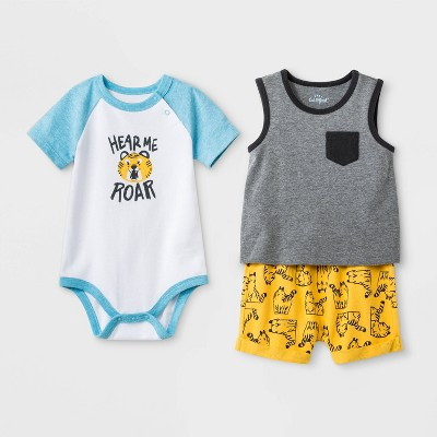 Baby Boys' 3pc  Hear Me Roar Lion  Top and Bottom Set - Cat & Jack™ Gray/Blue/Yellow 3-6M