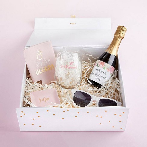 2ct Thank You For Being My Bridesmaid Gift Box White Kate Aspen