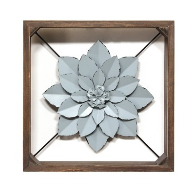 Flower Art with Metal Frame Blue - Stratton Home Decor