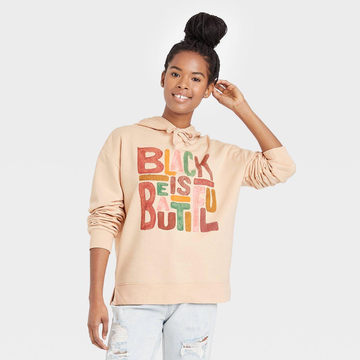 Black History Month Women's 'Black Is Beautiful' Hooded Sweatshirt - Beige - image 1 of 6