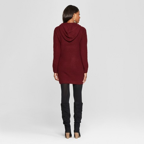 Women s Long Sleeve Hoodie Sweater Dress - Almost Famous (Juniors ) Burgundy 0f3cc66ba