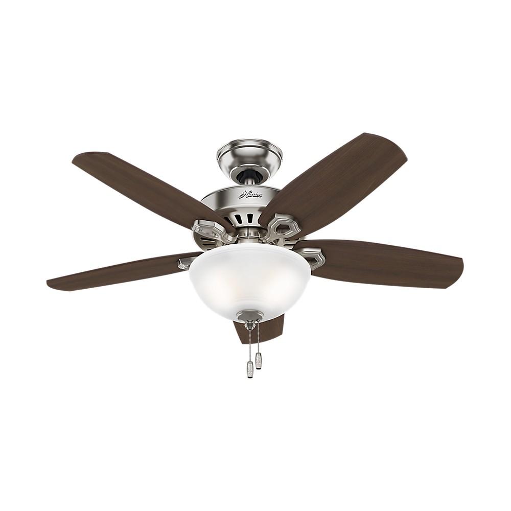 "Image of ""42"""" LED Builder Small Room Lighted Ceiling Fan Brushed Nickel - Hunter Fan"""