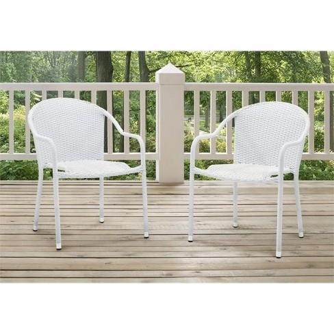 Steel Wicker Patio Chair In White Set