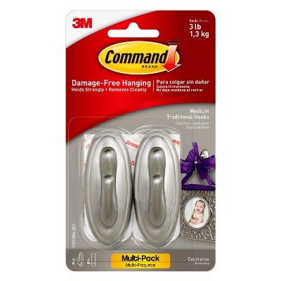 2pc Medium Traditional Hooks Brushed Nickel - 3M Command