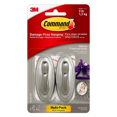 Command™ Medium Traditional Hook, Brushed Nickel, 2 Hook, 4 Strips - image 1 of 1