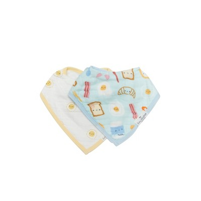 Loulou Lollipop Muslin Bandana Bib Set - Breakfast Blue