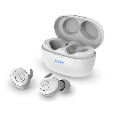 Philips T3215 Bluetooth 5.1 Wireless in-Ear Earbuds, TWS Stereo Headphones, IPX4, Up to 24 (6 + 18) hrs of Playtime (USB-C Charging), White (TAT3215WT)