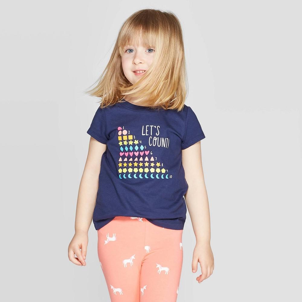57a105c2 Toddler Girls Short Sleeve Graphic T Shirt Cat Jack Navy 5T Blue