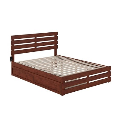 Oxford Bed with Footboard and USB Turbo Charger with Extra Long Trundle - Atlantic Furniture