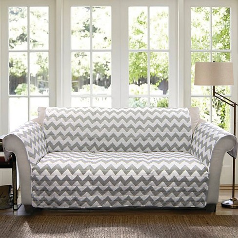 Gray/White Chevron Furniture Protector Sofa Slipcover - image 1 of 1