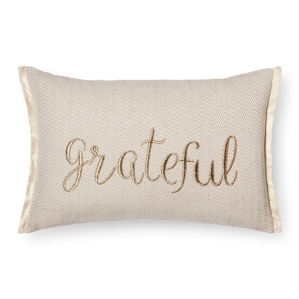 Gold Throw Pillow Grateful Oblong - Threshold, Natural