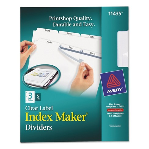avery index maker label dividers with 3 tab letter 5 sets pk