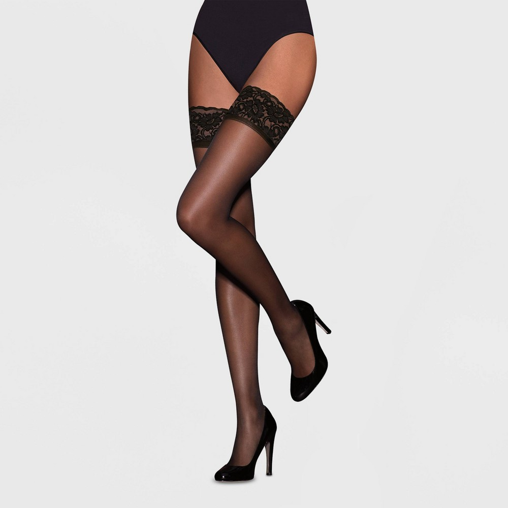 Image of Hanes Premium Women's Lace Thigh High Stockings - Black XL