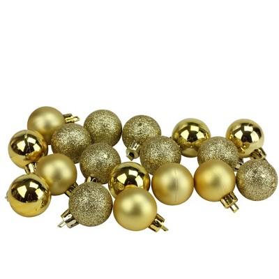 "Northlight 18ct Shatterproof 4-Finish Christmas Ball Ornament Set 1.25"" - Gold"