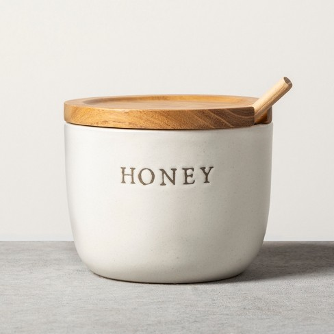 Stoneware Honey Pot with Acacia Wood Dipper and Lid - Hearth & Hand™ with Magnolia - image 1 of 3