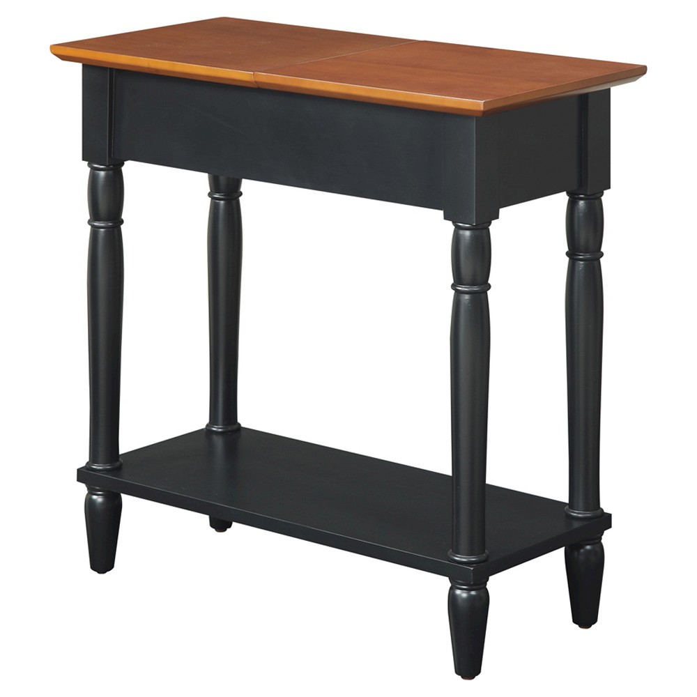 French Country Flip Top End Table - Convenience Concepts, Black