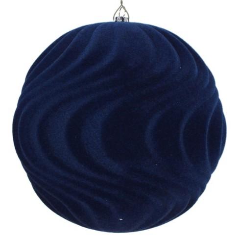 Vickerman 6 Midnight Blue Flocked Wave Ball Ornament 2 Per Bag Target