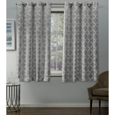 Cartago Insulated Woven Blackout Grommet Top Window Curtain Panel Pair Gray (54 x84 )- Exclusive Home®