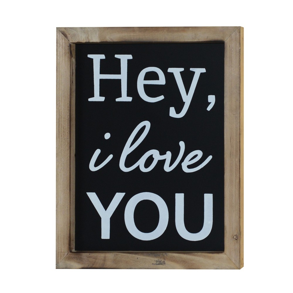 "Hey I Love You Wall Decor Sign (10""x12"") - VIP Home & Garden, Black"