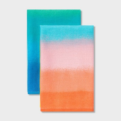 2pk Cotton Ombre Kitchen Towels - Sun Squad™